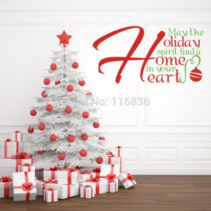 Christmas-home-decoration-wall-stickers-quote-Holiday-home-heart-vinyl ...