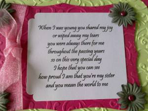 Here's the verse - this card is for Mum to give to her Sister, so the ...