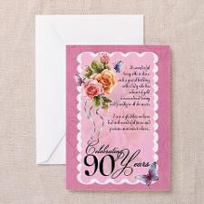 90th Birthday Card With Roses (Pk of 10) for