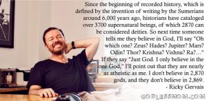 Ricky Gervais, atheist, atheism