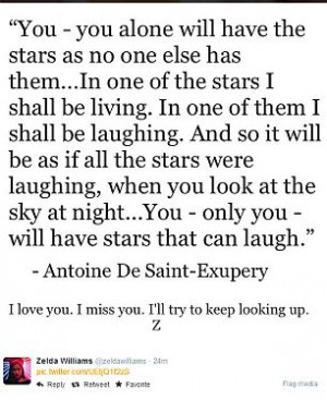 ... quote from The Little Prince on Monday after news broke of her father