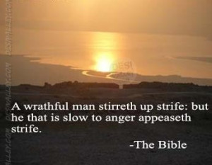 ... man stirreth up strife but he that is slow to anger appeaseth strife