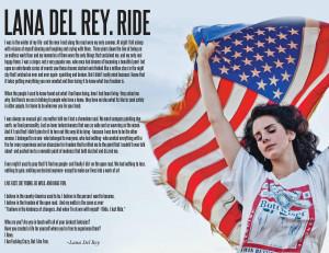 RIDE – Lana Del Rey motivational inspirational love life quotes ...