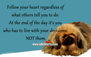 Follow your heart regardless of what others tell you to do. At the end ...