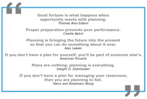 Planning, Planning, Planning