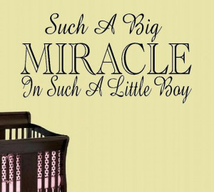 children wall decal quote Such a big miracle in such a little boy or ...