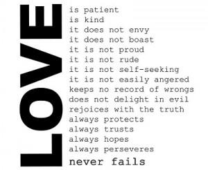 love, never fails, patient, quote, text, true