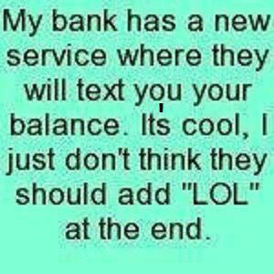 Bank text you your balance