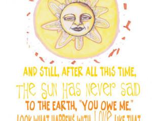 Whimsical Sun Illustration Illustra tion With Inspiring Hafiz Love ...