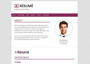 Just Released: New Builder Child Theme Résumé in 3 Color Variations