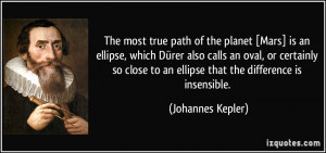 The most true path of the planet [Mars] is an ellipse, which Dürer ...