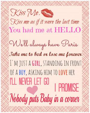 Freebie [Movie Love Quotes Printable]