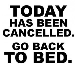 Today has been canceled. Go back to bed.