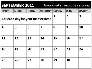 September 2011 Calendar encouraging quote