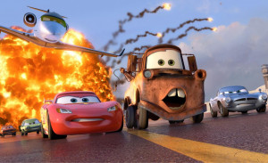 ... Lightning McQueen, Mater, and Finn McMissile in Disney-Pixar's Cars 2