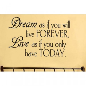 Dream as if you vinyl wall lettering words sticky art home decor ...