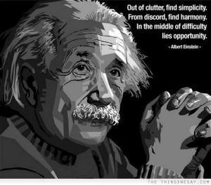 Albert Einstein's Rules of Work: 1) Out of clutter, find simplicity. 2 ...