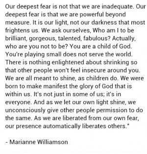 Saturday Quote: Our deepest fear