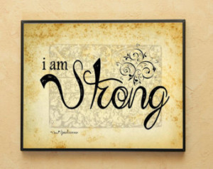 Am Strong Wall Art ~ Motivational Quote ~Inspirational ~ Pink Ribbon ...