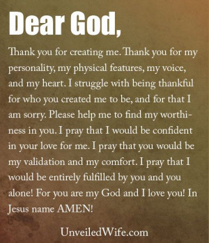Father, Thank you for creating me. Thank you for my personality, my ...