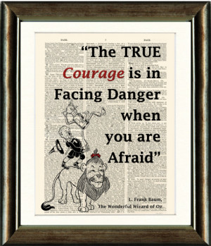 Wizard of Oz Lion Quote Print- vintage book page print image on a page ...