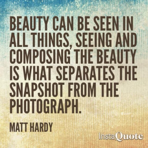 Beauty can be seen in all things, seeing and composing the beauty is ...