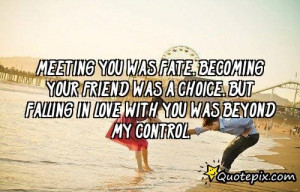 Meeting You Was Fate. Becoming Your Friend Was A C..