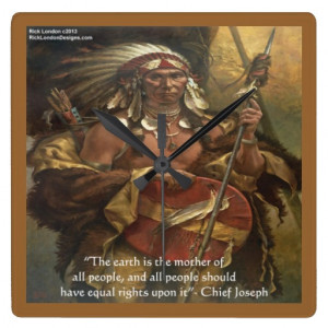 chief_joseph_mother_earth_quote_wall_clock ...