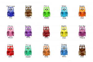color lepard alphabet owl sayings owl white pink lady bug