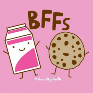 besties forever, cookies, cute, milk, pretty, quote, quotes
