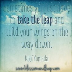 ... just have to take the leap and build your wings on the way down. More