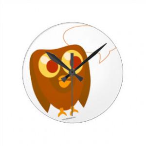 Cute Customisable Sayings Owl Clocks
