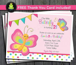 Butterfly Birthday Invitation - FREE Thank You Card included