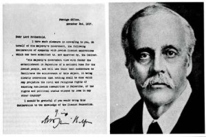 The Balfour Declaration with photo of Lord Balfour