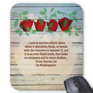 Red rose Shakespeare quote mousepad