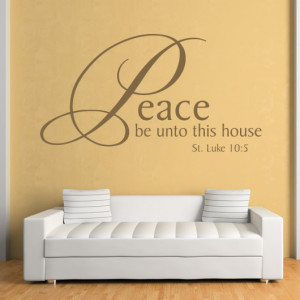 ... Peace Be Unto This House Quote Wall Stickers Wall Art Decal Transfers