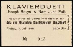 ... concert with Beuys and Nam June Paik on July 7, 1978. This ticket