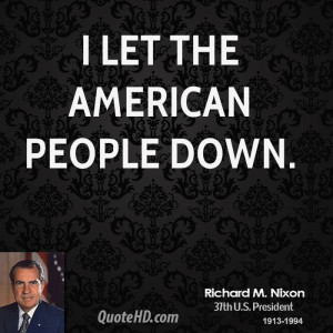 let the American people down.