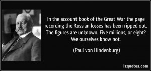 In the account book of the Great War the page recording the Russian ...