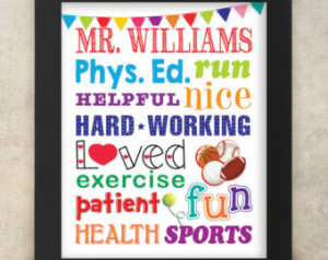 Gym Teacher Physical Education Teacher Subway Art Personalized with ...
