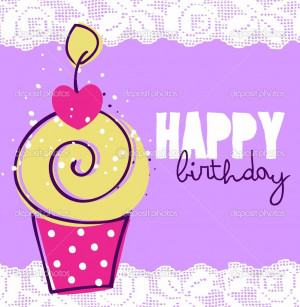 Cute happy birthday card with cupcake - Stock Illustration