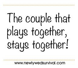 The couple that plays together, stays together.