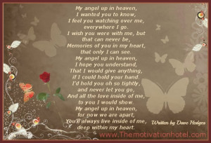 my angel up in heaven written by dave hedges my angel up in heaven i ...