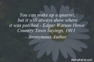 ... where it was patched.- Edgar Watson Howe, Country Town Sayings, 1911