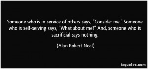 Someone who is in service of others says,