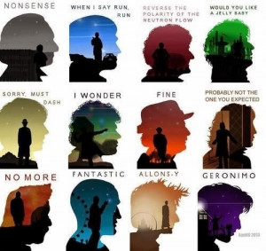 Fantastic Doctor Who art features the Doctor and his catchphrases.