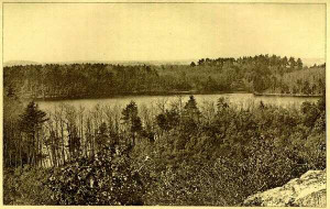 Walden Pond. The small inlet across the pond and to the right is now ...