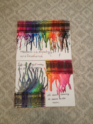 Melted crayon art and quotes