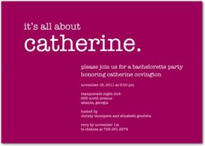 Focused Fun Signature White Bachelorette Party Invitations Raspberry