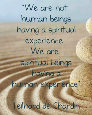... spiritual experience. We are spiritual beings having a human